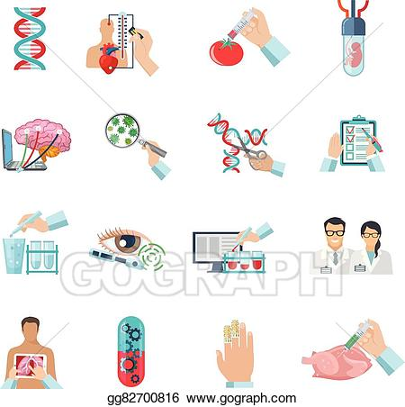 Bioyechnology clipart vector transparent Vector Clipart - Flat color biotechnology icons set. Vector ... vector transparent
