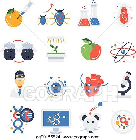 Bioyechnology clipart banner free EPS Vector - Biotechnology colored icon set. Stock Clipart ... banner free