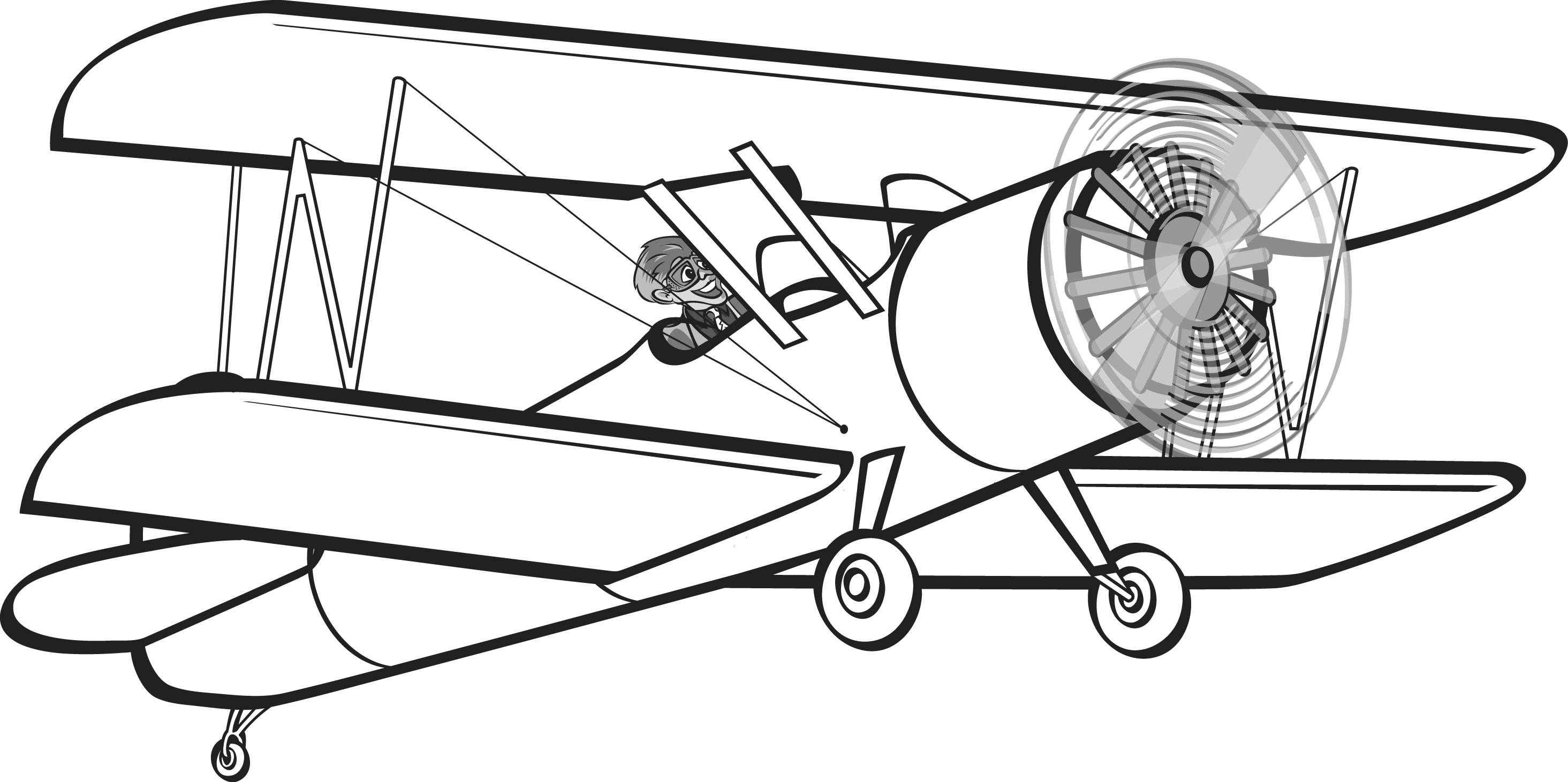 Black and white old fashioned airplane drawing clipart transparent stock Free Biplane Cliparts, Download Free Clip Art, Free Clip Art on ... transparent stock