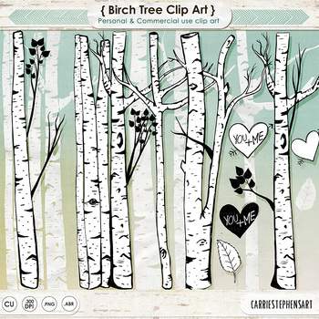 Birch tree silhouette clipart picture library download Birch Tree Clip Art, Line Art , Tree Silhouettes, Woods, Forest Friends picture library download