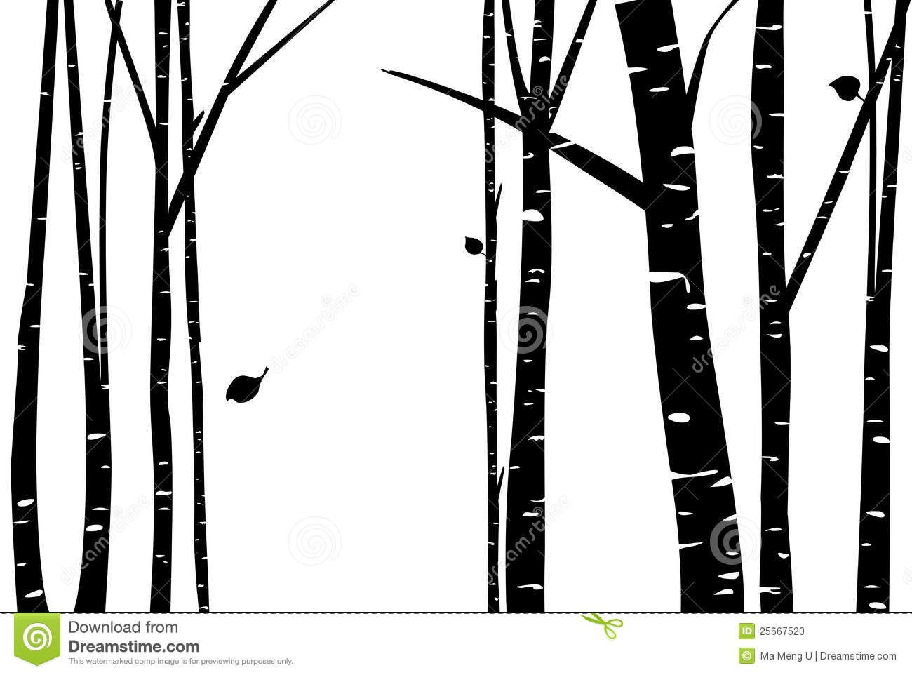 Birch tree silhouette clipart clipart library library Birch Tree vector | Birch grove with falling leaf silhouette. By Ma ... clipart library library
