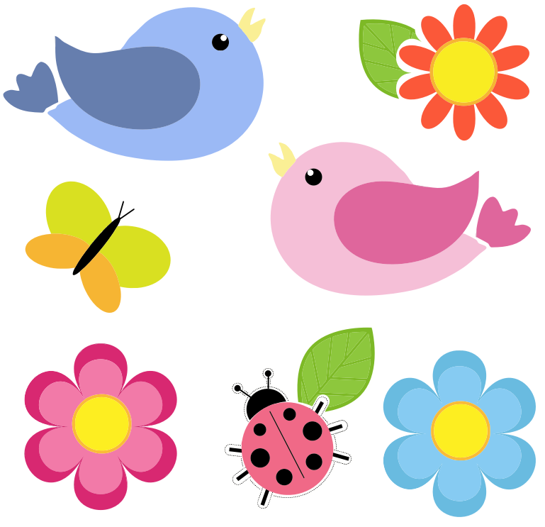 Bird flower clipart clip art royalty free download birds clipart | Clipart - Birds Butterfly Ladybug And Flowers No ... clip art royalty free download