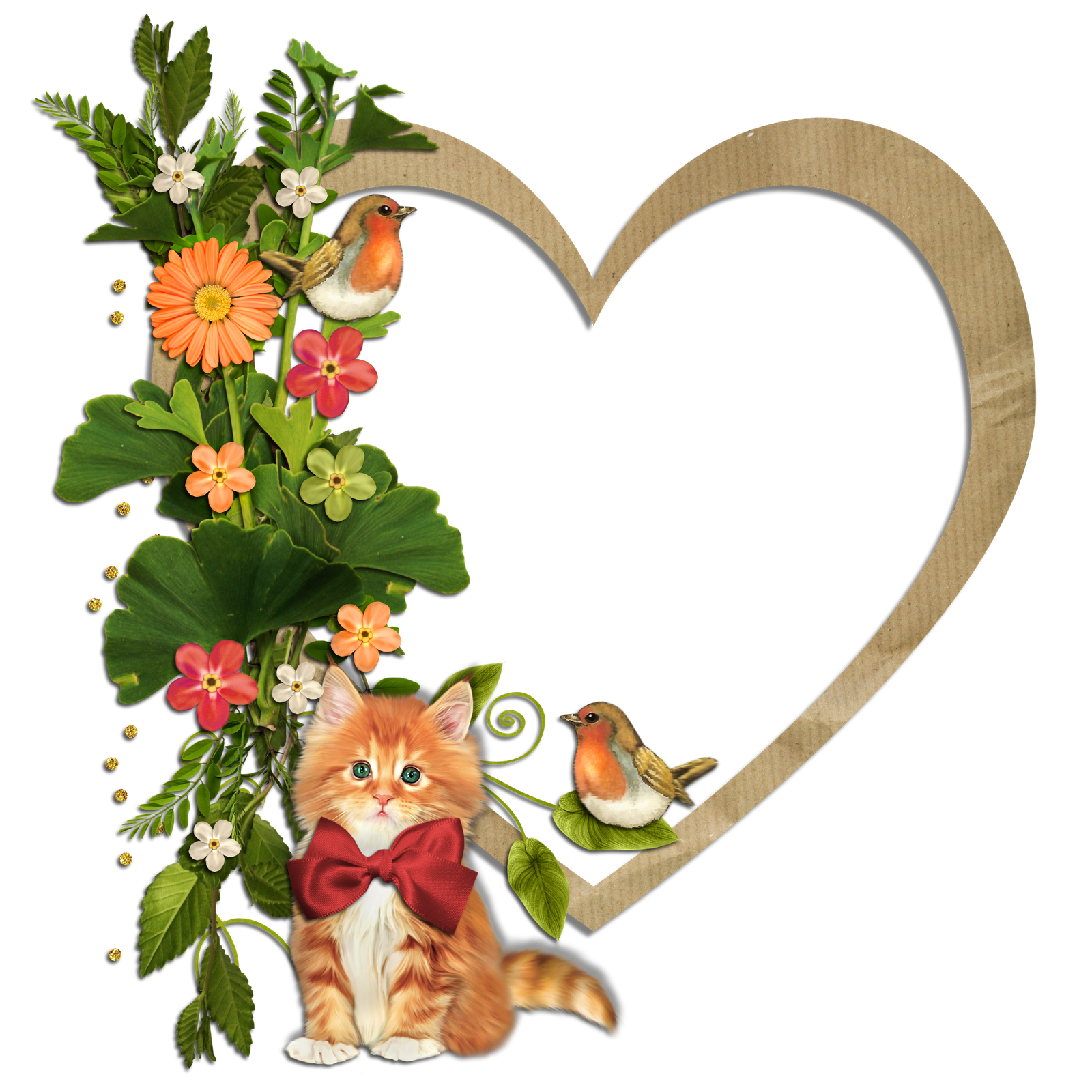 Bird and flower clipart png download Kitty Birds and Flowers Heart Transparent Frame | Gallery ... png download