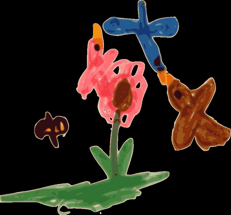 Bird bee flowers clipart free jpg transparent Free Clipart: Kindergarten Art Birds, Bee, and Flower | BAJ jpg transparent