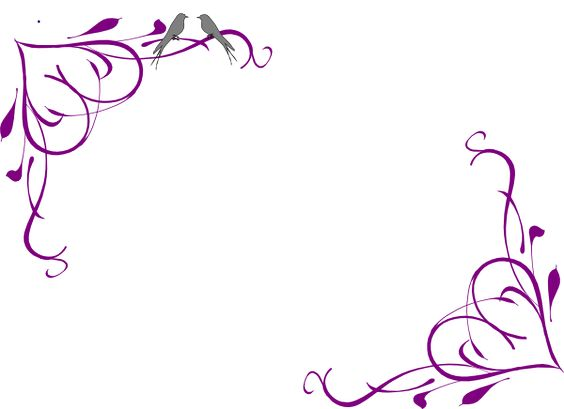 Bird borders clipart free png black and white library Purple Flower Borders And Frames Love Birds Grey Corner - Free Clipart png black and white library