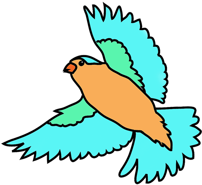 Bird & cat clipart clip free library Colorful Drawings of Birds clip free library