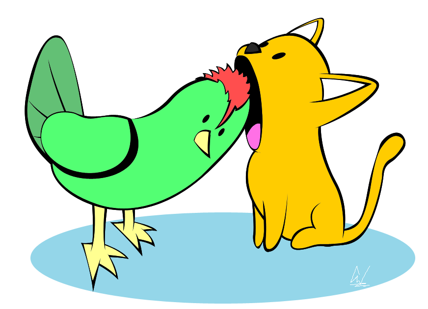 Cat and bird clipart picture free library Chicken and Cat by Bit-Master on DeviantArt picture free library
