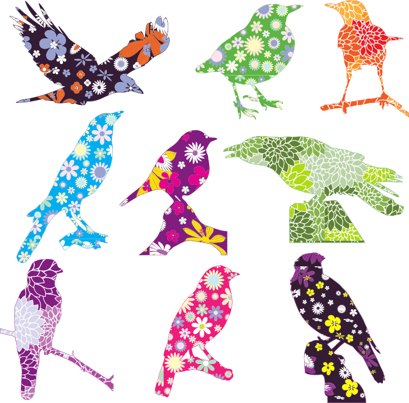 Bird flower clipart picture royalty free Clipart - Floral Birds picture royalty free