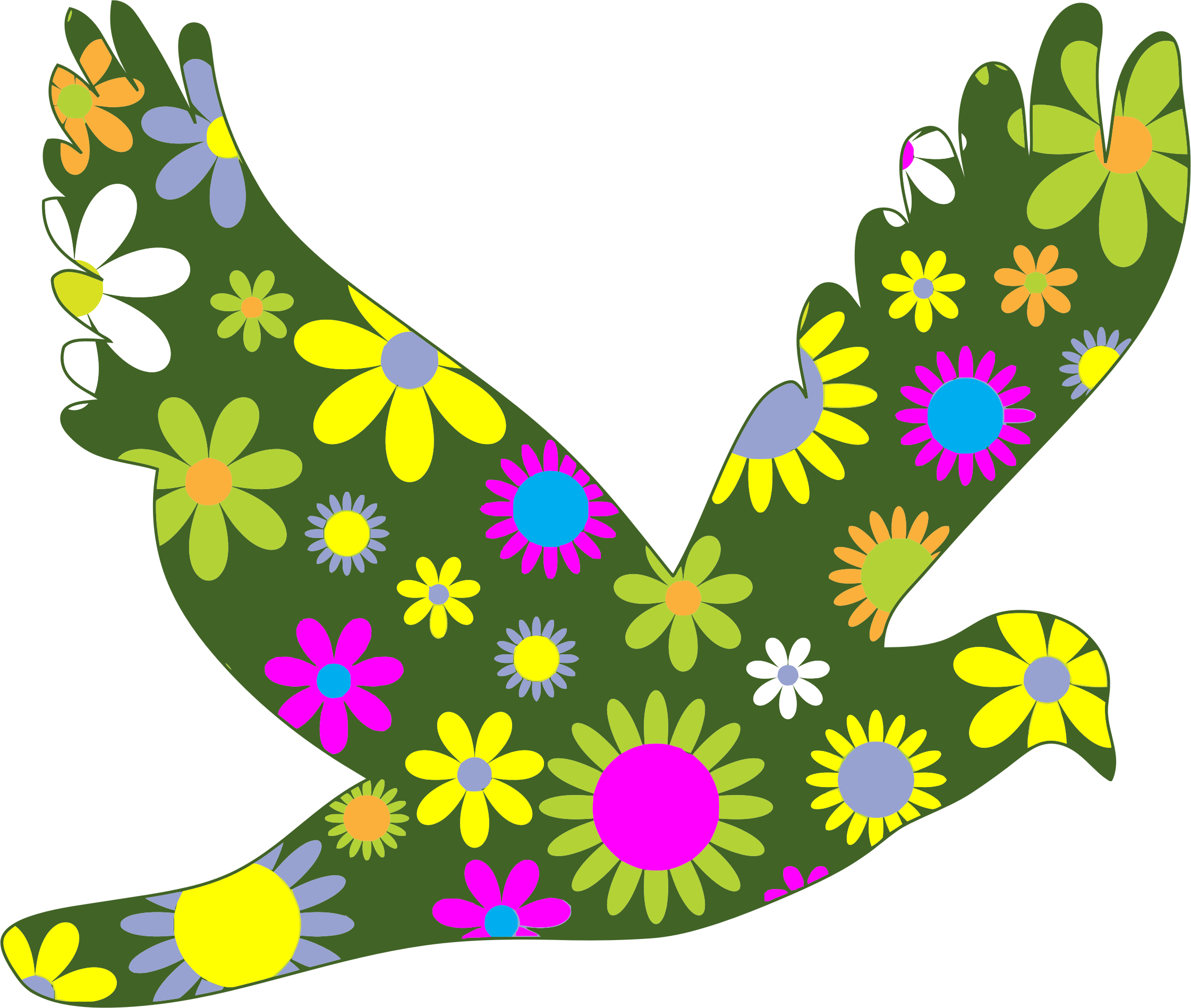 Bird flower clipart clipart black and white Clipart - Retro Floral Bird clipart black and white