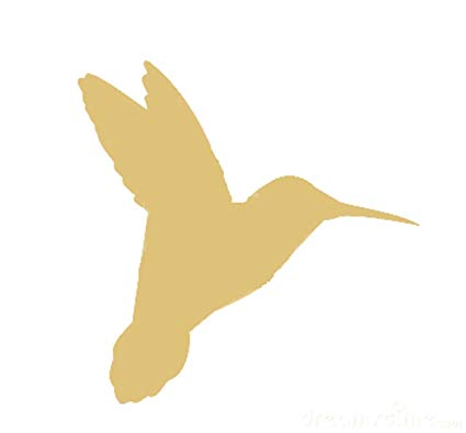 Hummingbird Cutout Unfinished Wood Garden Bird Hover Flying Flight MDF  Shape Canvas Style 1 clip