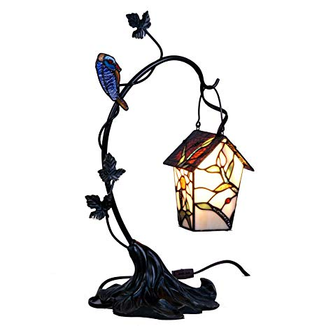 Bieye L10617 Bird House Hanging on The Branch Tiffany Style Stained Glass  Accent Table Lamp, Night Light, 21 inch High png freeuse stock