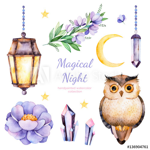 Handpainted watercolor flowers,leaves,moon and stars,night lamp ... clip art library
