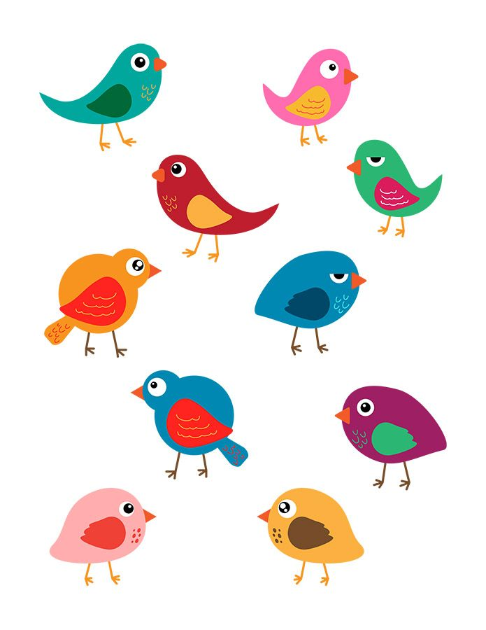 10 Colorful Birds Vector Clip Art- 10 cute, colorful birds vector ... clipart freeuse stock