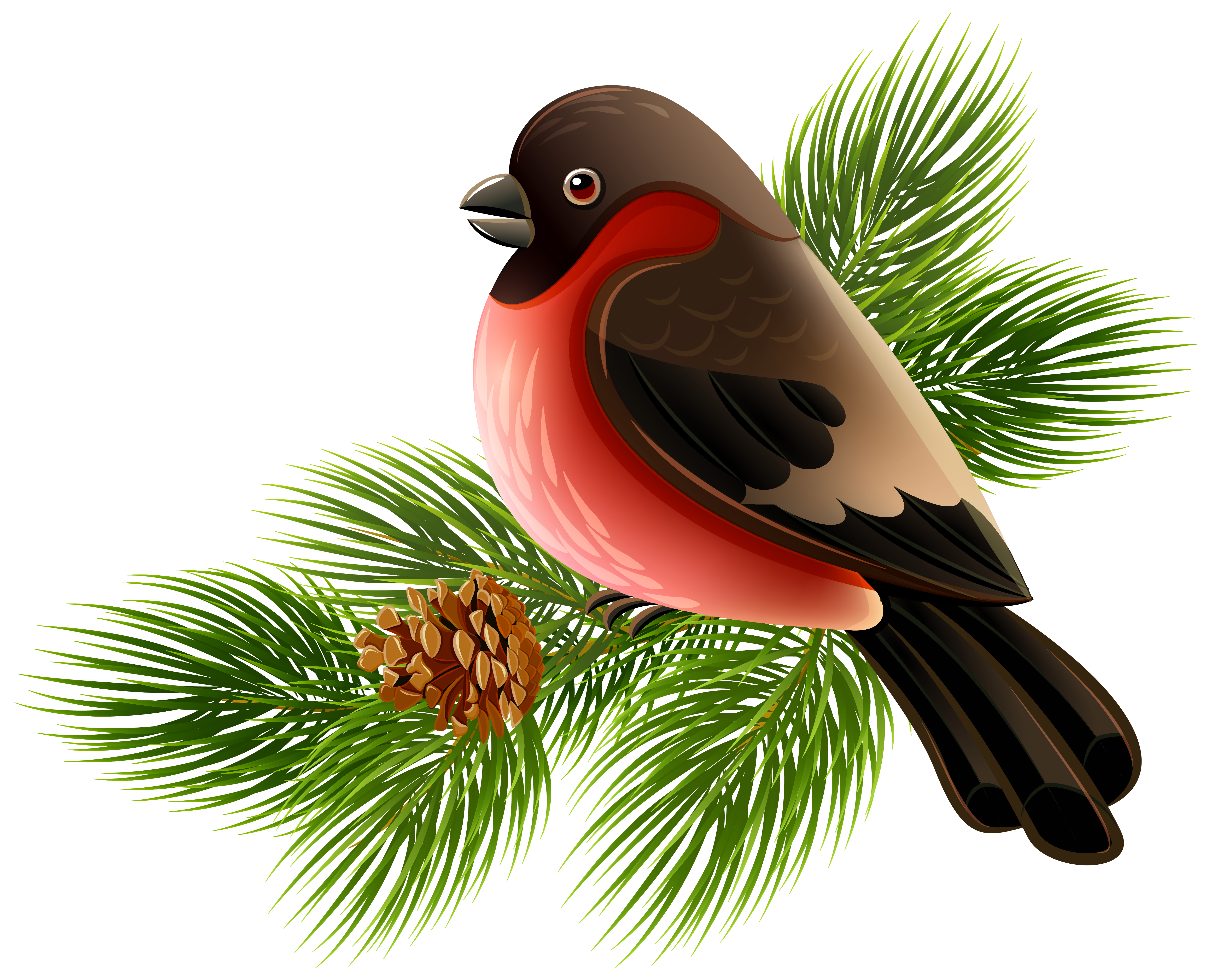 Bird in tree clipart clipart library Bird Clip art - Bird and Pine Branch PNG Clipart Image 5862*4732 ... clipart library