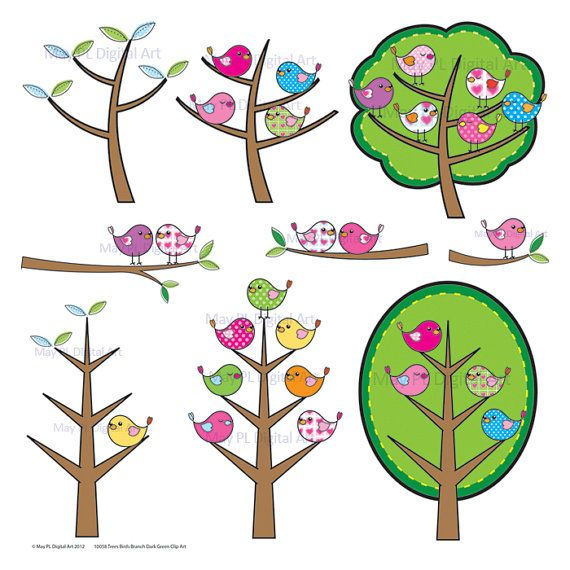 Bird on a tree clipart graphic free library Birds Branch Tree Clipart Clip Art Cute Birds by MayPLDigitalArt ... graphic free library