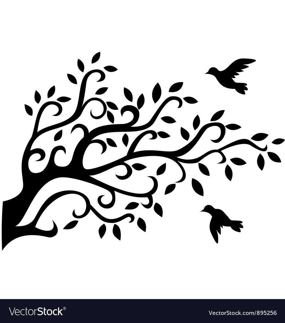 Bird on branch silhouette clipart free svg black and white Tree silhouette with bird svg black and white