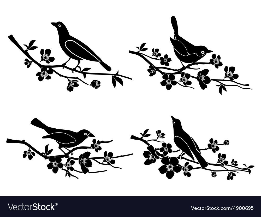 Bird on branch silhouette clipart free graphic free download Birds on branches silhouettes graphic free download