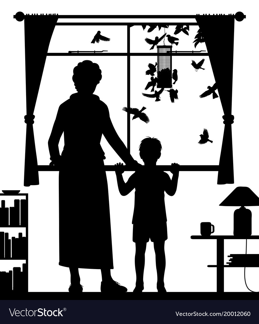 Woman and child watching birds svg black and white stock