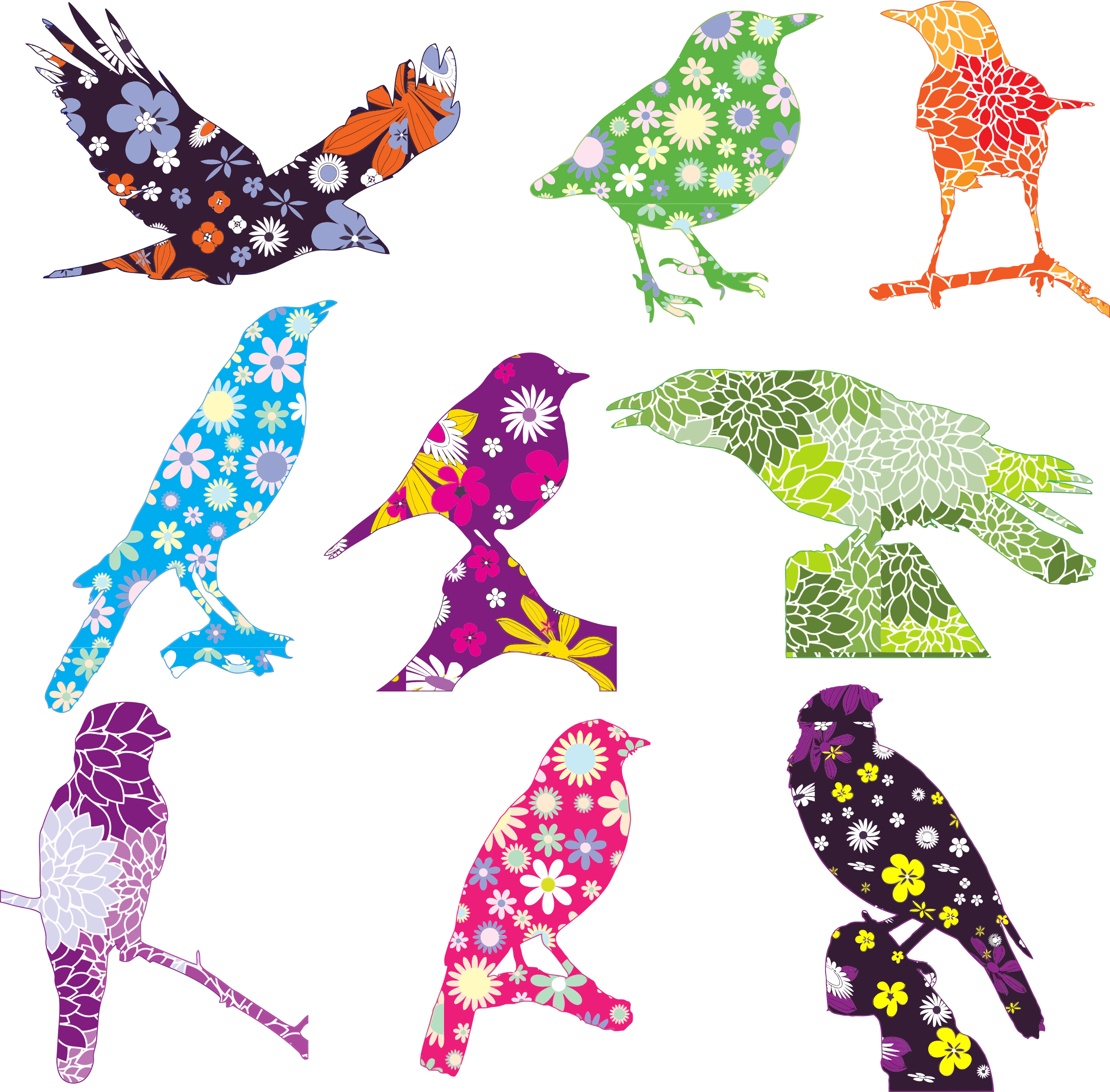 Bird with flower clipart image free stock Clipart - Floral Birds image free stock