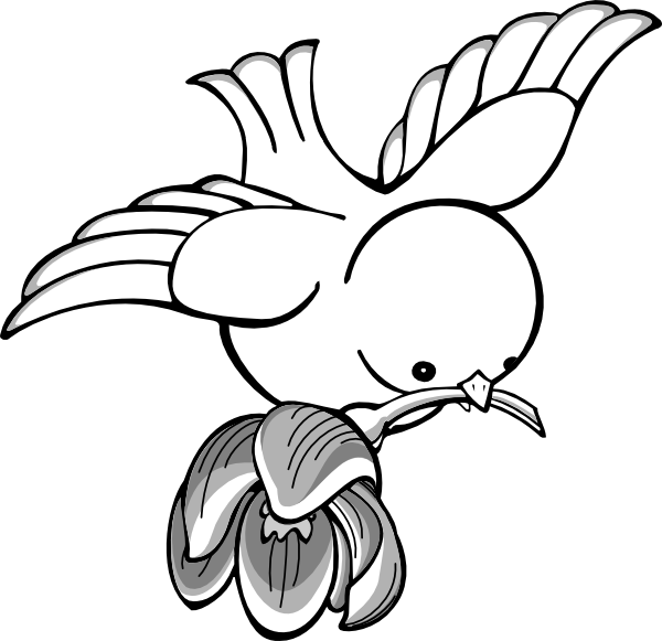 Bird with flower clipart clipart free library Bird Clipart | Bird Flying With Flower clip art - vector clip art ... clipart free library