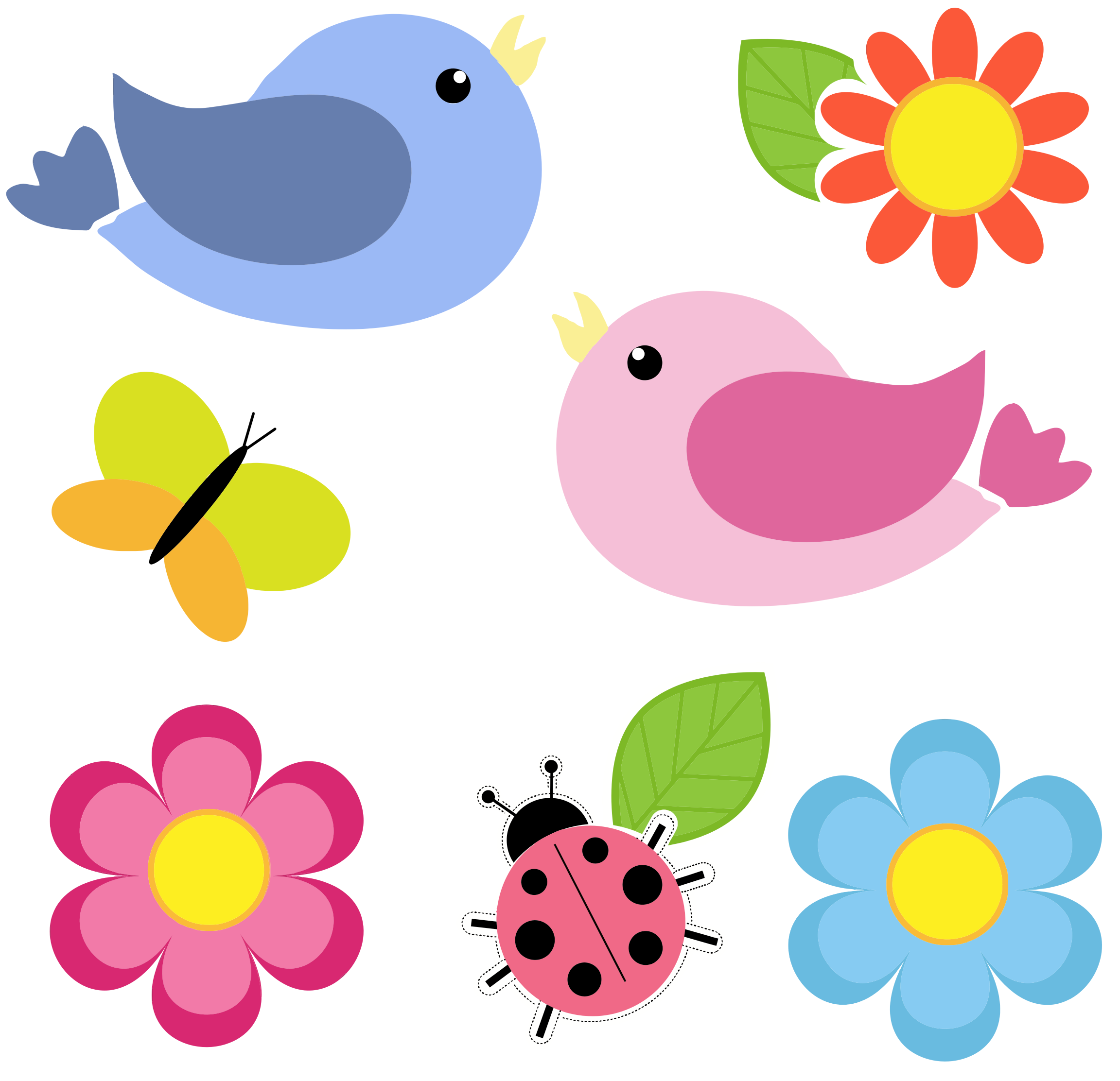 Butterfly on flower clipart vector royalty free stock Birds Butterfly Ladybug And Flowers No Background by @GDJ, Birds ... vector royalty free stock