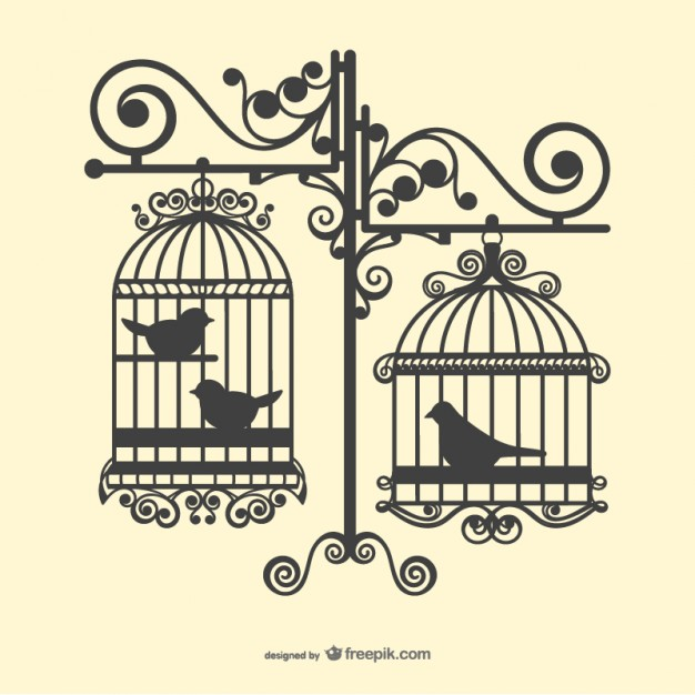 Birdcage silhouette clipart clipart black and white stock Birdcages silhouettes Vector | Free Download clipart black and white stock