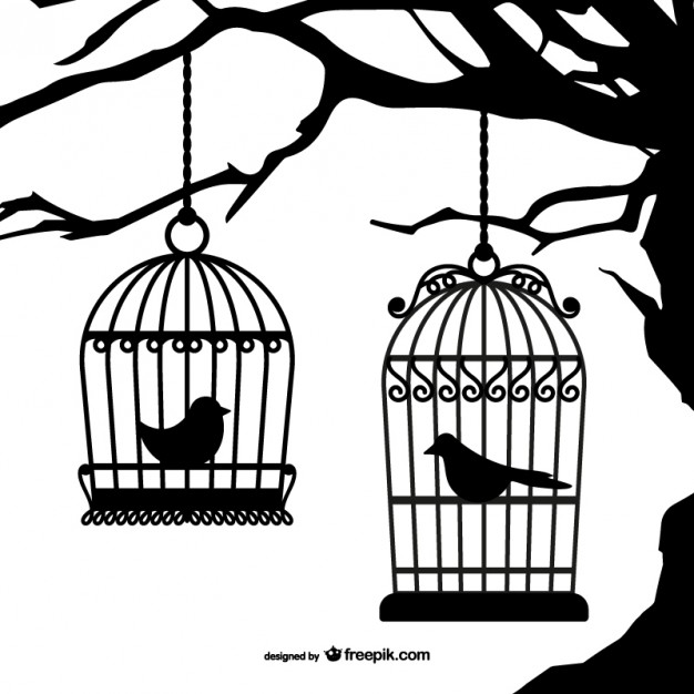 Birdcage silhouette clipart clipart black and white Black birdcages silhouettes Vector | Free Download clipart black and white