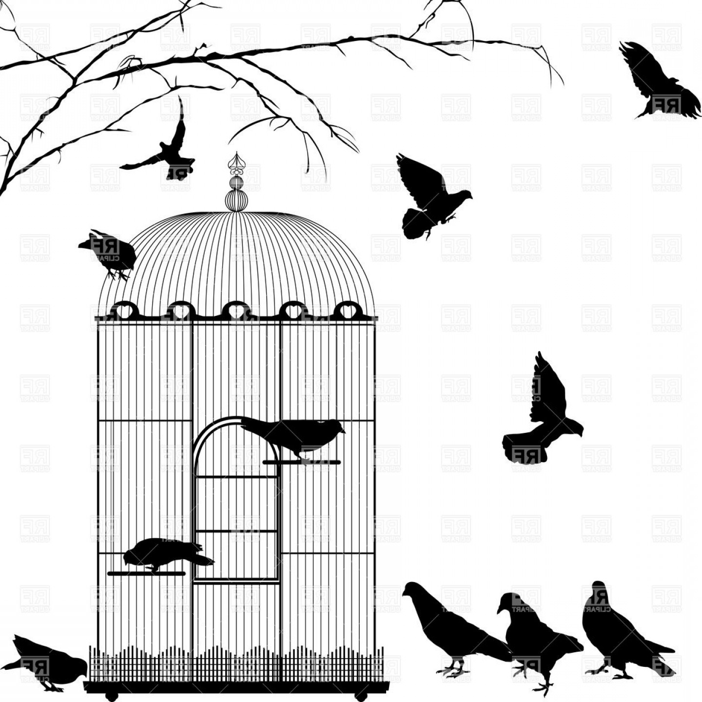 Birdcage silhouette clipart image black and white download Birdcage And Silhouettes Of Birds Vector Clipart | GeekChicPro image black and white download