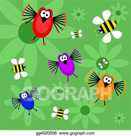 Clip Art - Birds and bees. Stock Illustration gg4020056 - GoGraph clip art library