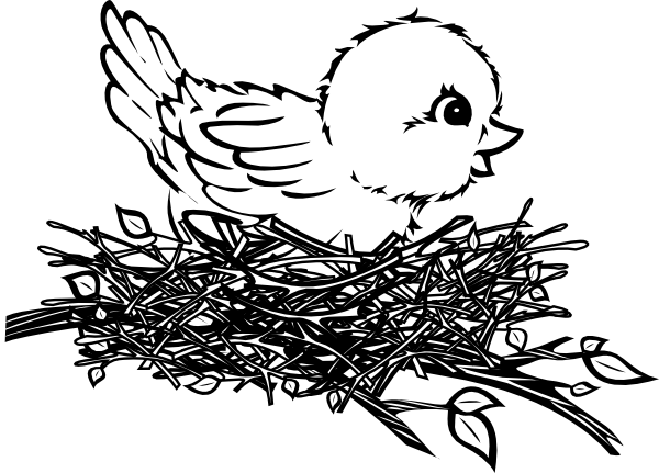 Bird nest clipart black and white clipart images gallery for free ... banner free library