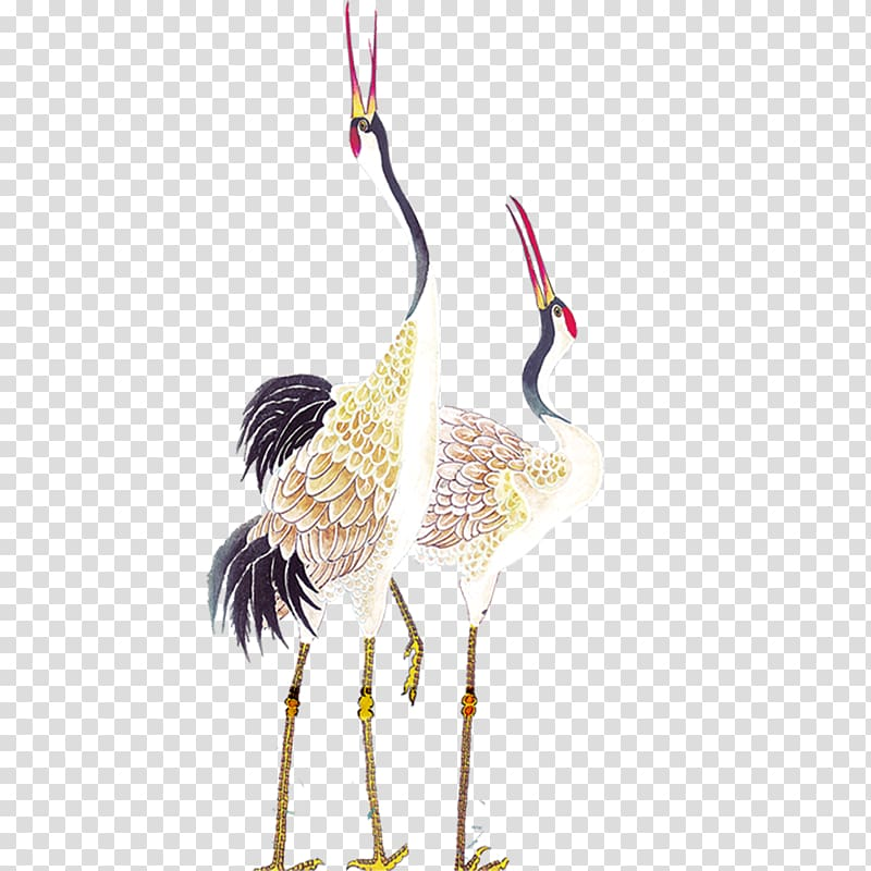 Birds eating clipart graphic library White-and-black birds illustration, Red-crowned crane Bird Painting ... graphic library