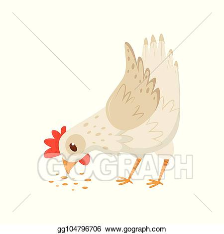 Birds eating seeds farm clipart graphic free library Vector Art - Hen eating seeds. domestic fowl with bright red scallop ... graphic free library