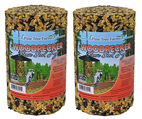 Birds eating seeds farm clipart graphic black and white download Pine Tree Farm Woodpecker Classic Seed Log, 40-Ounce (Pack of 2) graphic black and white download