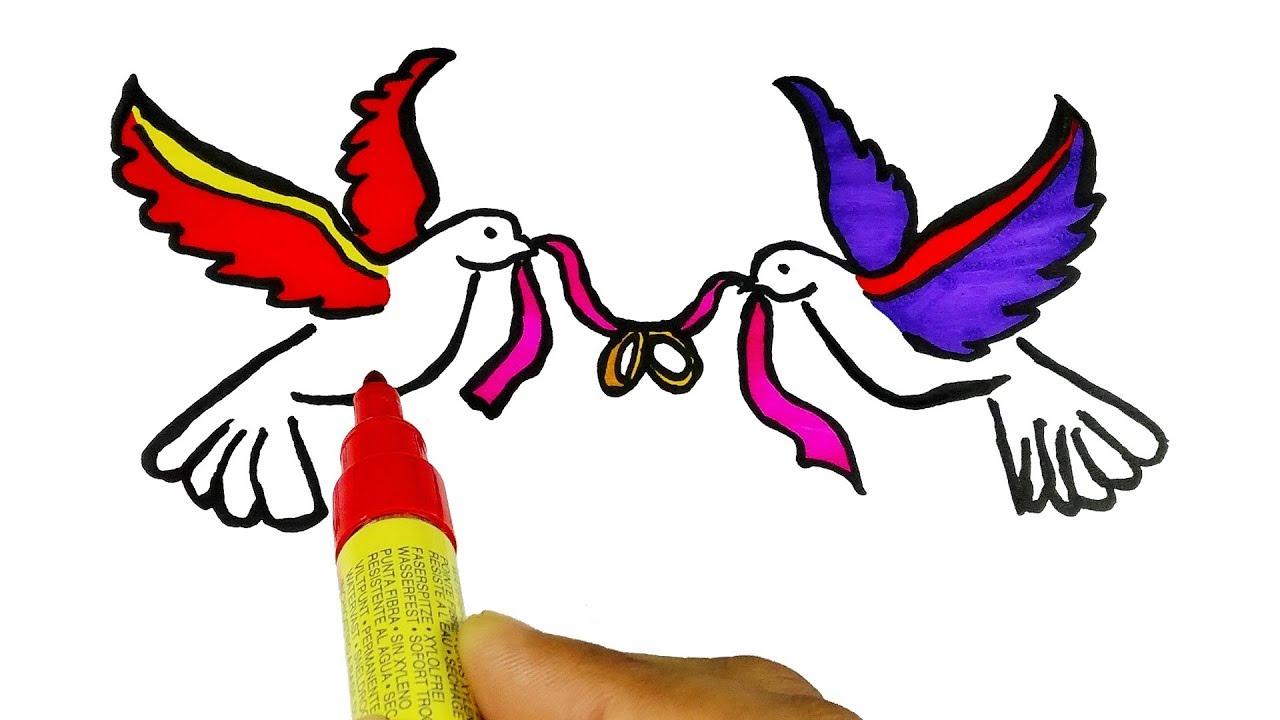 Birds flying video clipart stock Birds Drawing Videos For Kids - Loving Birds- Flying Birds -Coloring Birds stock