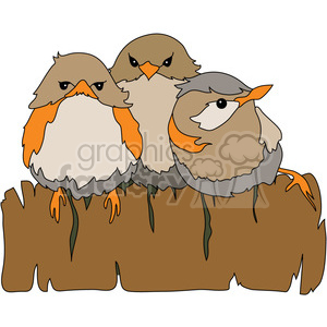 Birds on a fence clipart