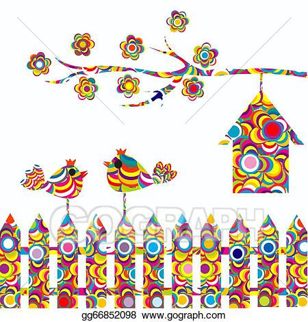 Birds on a fence clipart freeuse stock Stock Illustration - Card with two birds on a fence and birdhouse ... freeuse stock