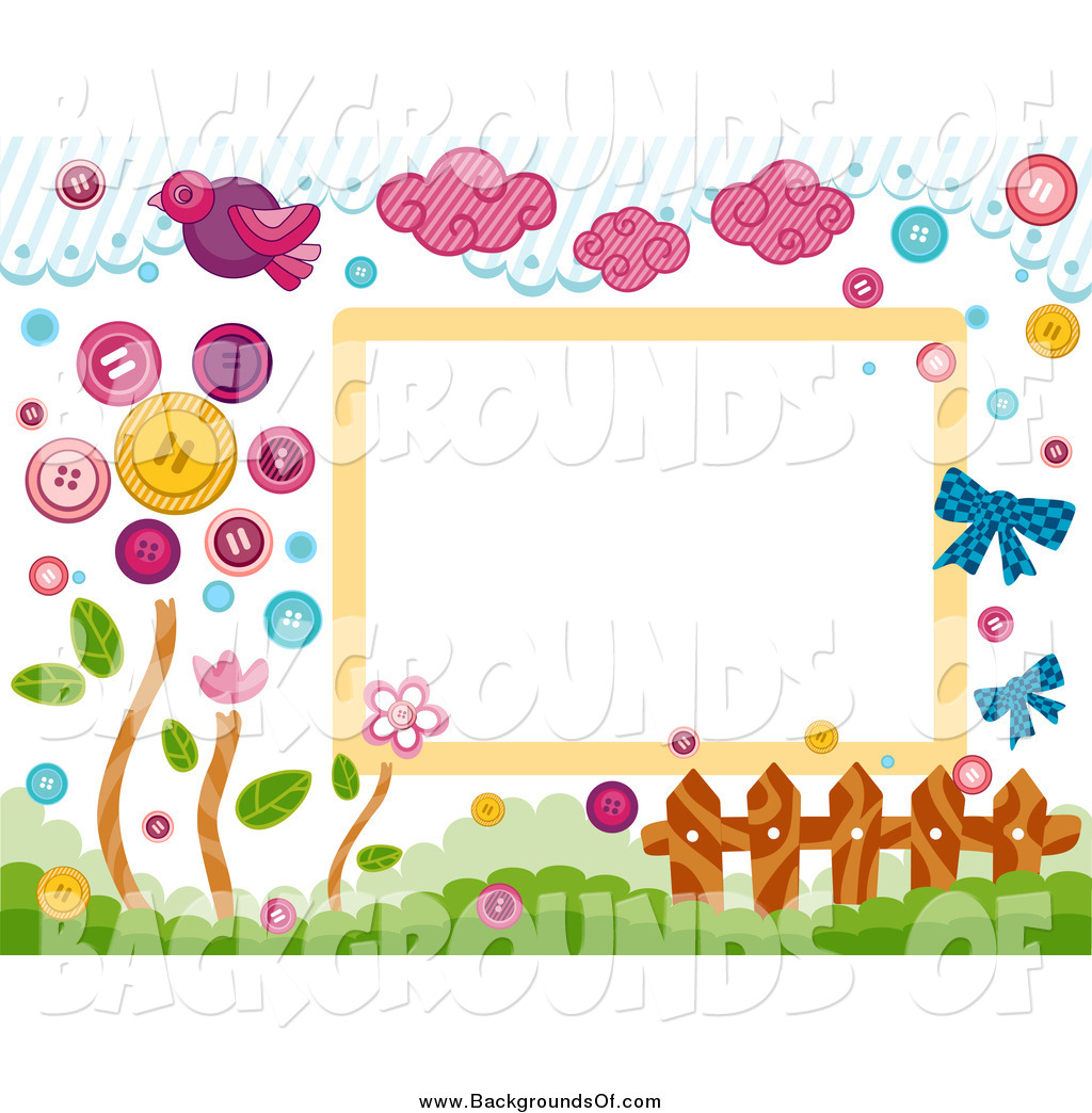 Birds on a fence clipart graphic library Vector Clipart of a Border of Birds, Clouds, Buttons, a Fence and ... graphic library