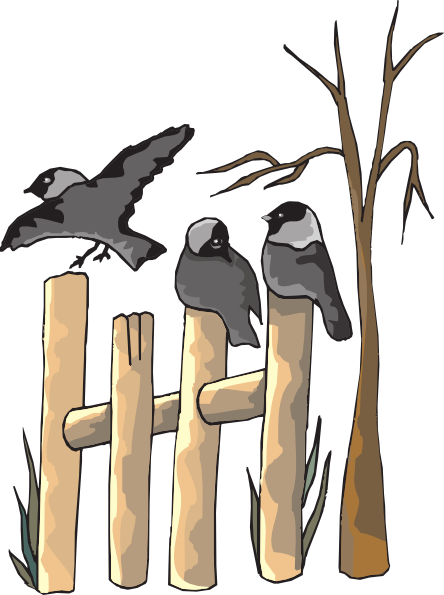 Birds on a fence clipart clip black and white stock Birds On Fence Clip Art at Clker.com - vector clip art online ... clip black and white stock