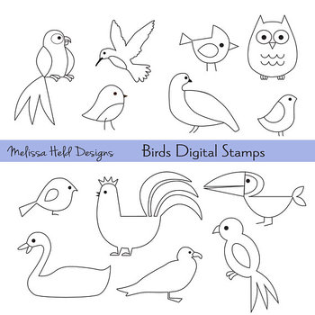 Bird Outlines Digital Stamps Clipart royalty free library