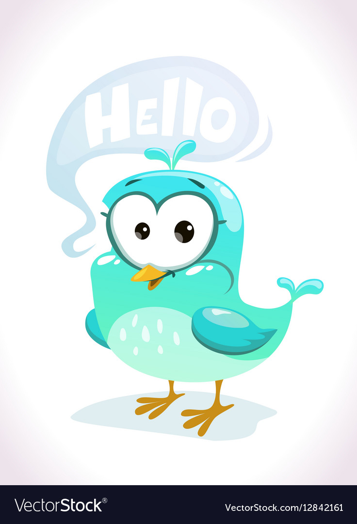 Birds saying hello clipart banner free library Little cute cartoon blue bird character banner free library