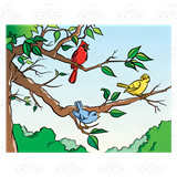 Birds sitting on tree clipart svg library Three Birds, sitting in a tree svg library
