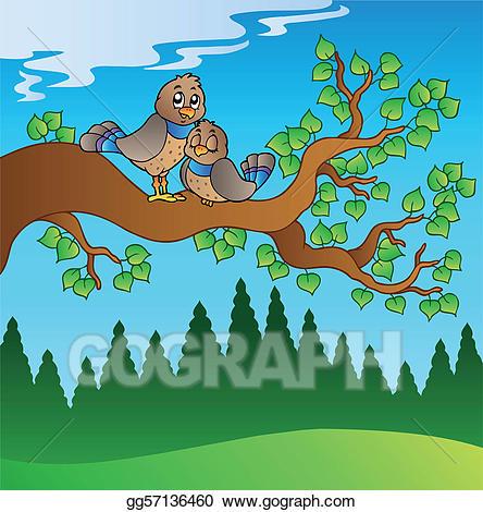 Birds sitting on tree clipart image free stock Clip Art Vector - Two cute birds sitting on branch. Stock EPS ... image free stock