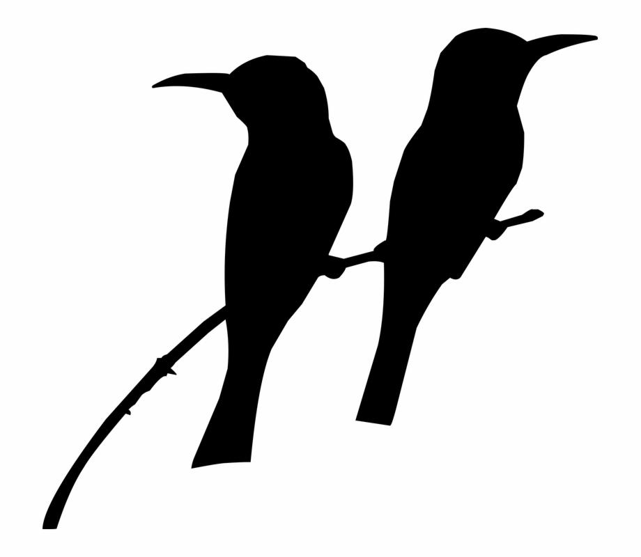 Birds sitting on tree clipart clipart stock Silhouette, Bird, On The Tree, Tow Bird\'s, Nature - Birds Sitting On ... clipart stock
