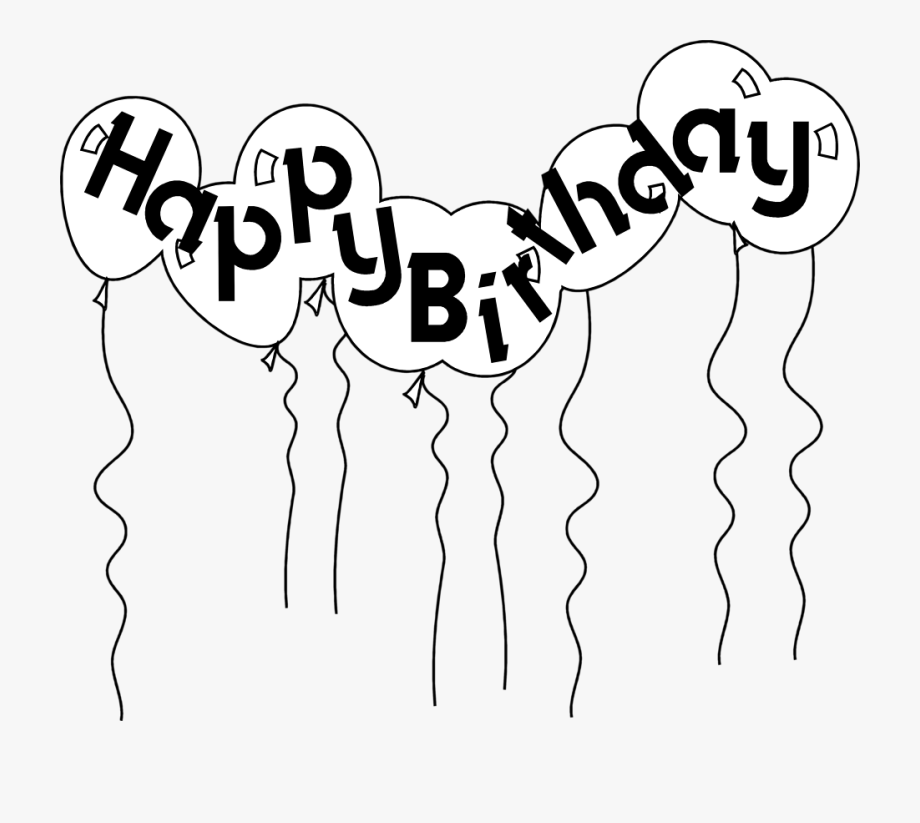 Transparent birthday black balloon clipart graphic free library Happy Birthday Balloons Black And White Clipart Free - Black And ... graphic free library