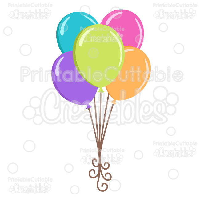 Birthday balloons clipart file vector library download Birthday Balloons SVG Cutting File & Clipart vector library download