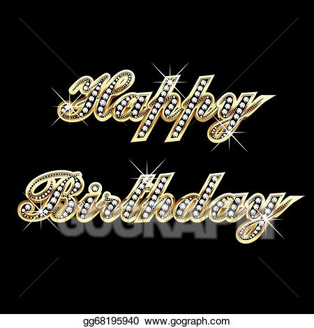 Birthday bling clipart graphic royalty free download Vector Art - Happy birthday in gold with diamond. EPS clipart ... graphic royalty free download