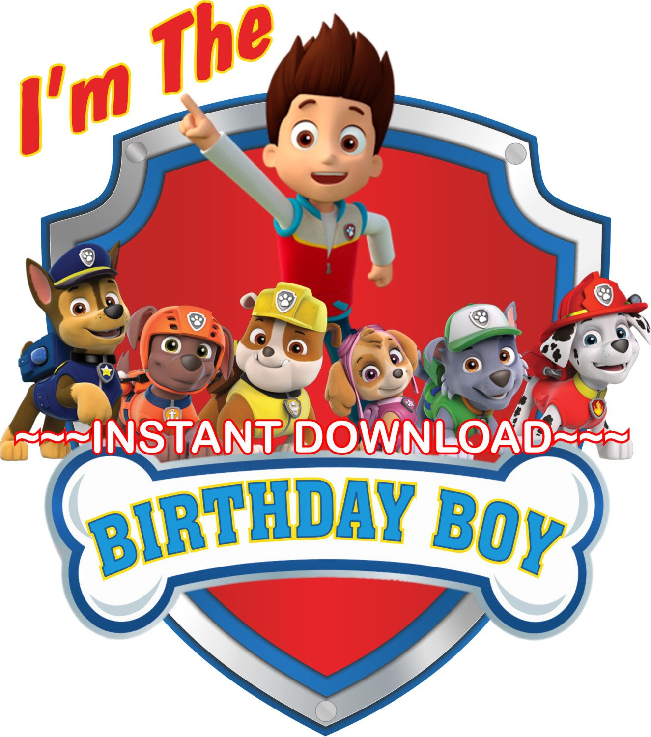 Birthday boy paw patrol clipart clip library download Paw Patrol Iron On Transfer, Personalized DIY Birthday Shirt, Family ... clip library download