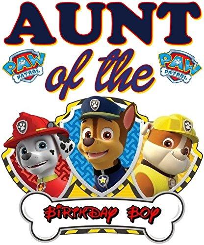 Birthday boy paw patrol clipart svg royalty free stock Amazon.com: PAW Patrol - AUNT of Birthday Boy - For Light-Colored ... svg royalty free stock