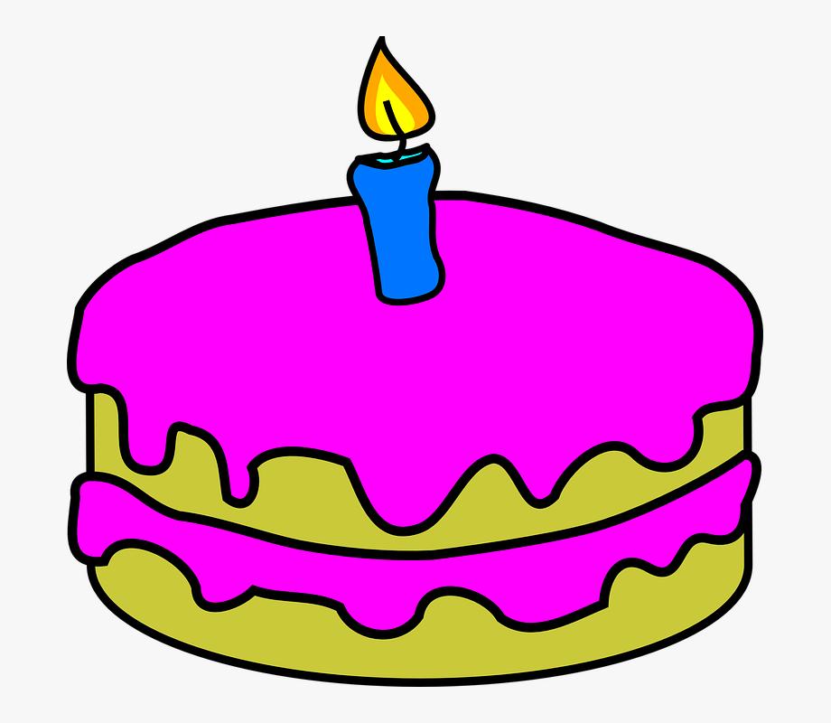 Birthday cake 1 clipart vector free The Savvy Newcomer - Birthday Cake With 1 Candles #140679 - Free ... vector free