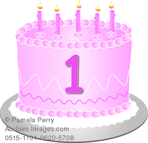 Birthday cake 1 clipart clipart black and white stock Clip Art Image of a Pink Birthday Cake With the Number 1 clipart black and white stock